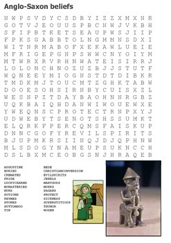Anglo Saxon Beliefs Word Search