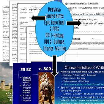Anglo Saxon (Beowulf) Background Notes Bundle (History of Britain)