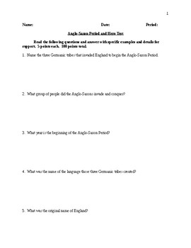 Anglo-Saxon Period and Hero Test - CCSS Aligned