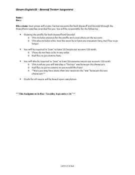 Anglo Saxon Poetry: Beowulf Twitter Assignment and Grading Rubric