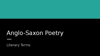 Anglo-Saxon Poetry Terms