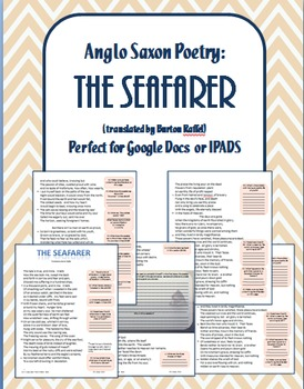 """Anglo Saxon Poetry--""""The Seafarer"""": Ready made for Google Classroom or iPads"""
