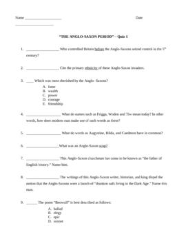 Anglo Saxon Quiz 1 w/answer key