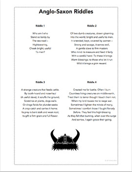 Anglo Saxon Riddles For Use With Beowulf By Britlitwit Tpt