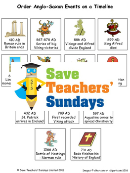 Anglo-Saxons timeline Lesson plan and Worksheet / Activity