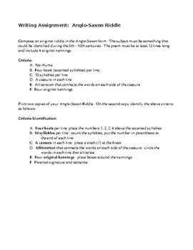 Anglo-Saxon Riddle assignment with samples