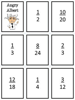 Angry Albert- Matching Equivalent Fractions Game!