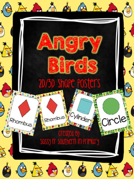 Angry Bird Themed 2D and 3D Shape Posters