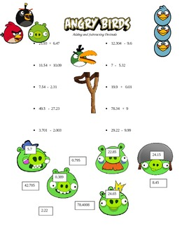 Angry Birds Adding and Subtracting Decimals