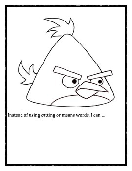 Angry Birds: Anger Management / Cool Down Strategies Coloring Activity Packet