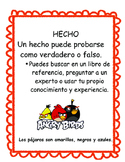 Angry Birds Cause and Effect Spanish, Hecho u Opinión