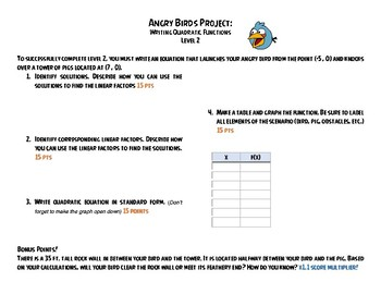 Angry Birds Project - Writing Quadratic Equations