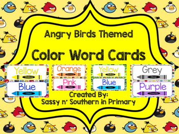 Angry Birds Themed Color Word Posters