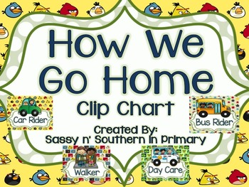 """Angry Birds Themed """"How We Get Home"""" Transportation Clip Chart"""