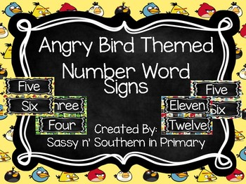 Angry Birds Themed Number Word Posters