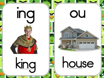 Angry Birds Themed Phonics Cards (Green Background)