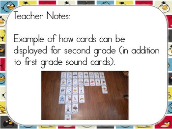 Angry Birds Themed Phonics Sound Cards (Multicolor Background)