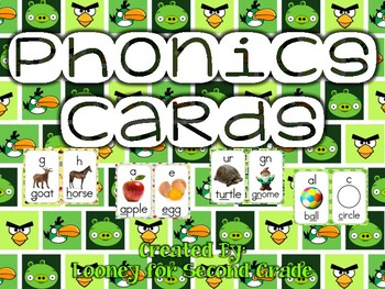 Angry Birds Themed Phonics Sound Cards (Green Background 1)