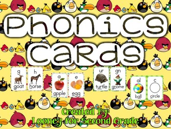Angry Birds Themed Phonics Sound Cards (Yellow Background)
