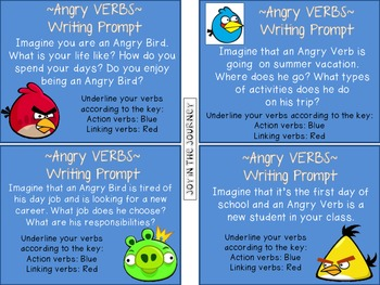 Angry Verbs Writing Prompts Packet