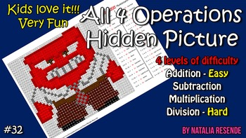 Anger - Inside Out - Mystery Picture - 4 operations - Four level difficulty