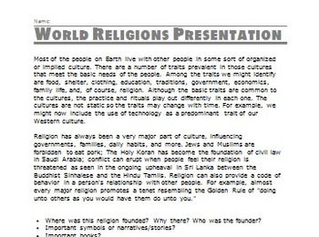 Ancient Religions Research Project