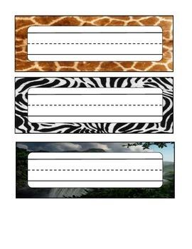 Animal Skin / Jungle Desk Labels
