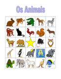Animais (Animals in Portuguese) Bingo