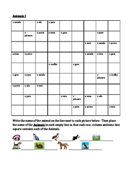Animais (Animals in Portuguese) Sudoku