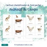 Animais do campo - Montessori 3 part cards in Portuguese