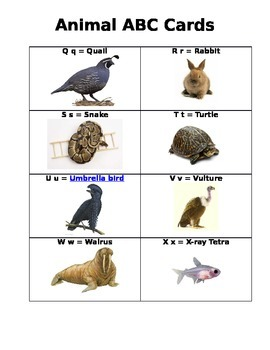 Animal ABC Cards