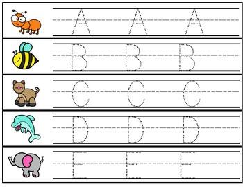 Animal ABCs Uppercase Writing Practice - Strips