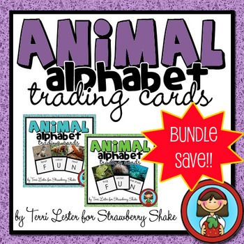 Animal ALPHABET TRADING CARDS FLASH CARDS BUNDLE!!  SAVE 25%