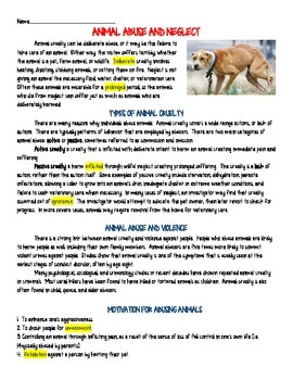 Animal Abuse and Neglect Informational Text Reading Comprehension