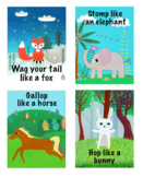 Animal Action Cards.18 cards. Digital download.