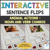 #warmupwithsped1 Animals Interactive Sentence Flips Noun and Verb Combos