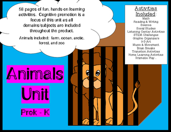 Animal Activities Unit - math literacy listening STEM 58 pages of fun learning