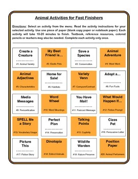 Animal Unit Menu - 20 Activities for Fast Finishers (No Prep Required)