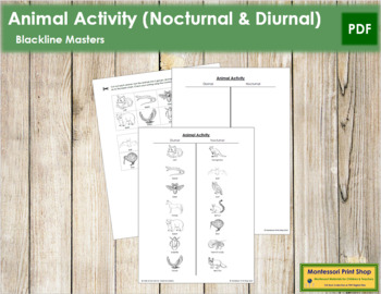 Animal Activity: Nocturnal or Diurnal - Blackline Masters