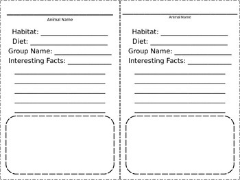 Animal Activity Sheet - Habitat, Diet, Facts - Science
