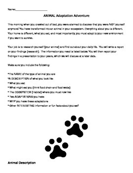 Animal Adaptation Adventure: A Research Project