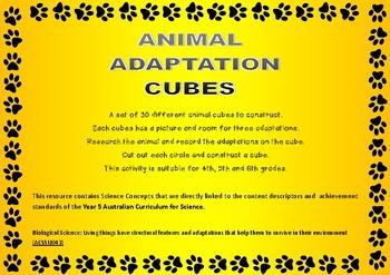 Animal Adaptations Construction Cubes