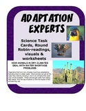 Animal Adaptation Science Task Cards - nonfiction reading, visuals & worksheets