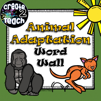 Animal Adaptation Word Wall Freebie
