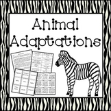 Animal Adaptations (Reading passage, matching games and center activities)