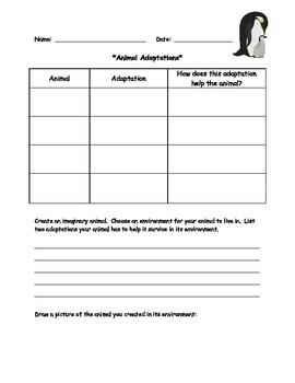 Animal Adaptations Activity Sheet
