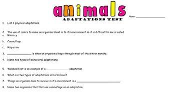 Animal Adaptations Assessment