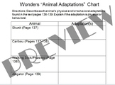 Animal Adaptations Chart (pair w/McGraw Hill Wonders Text