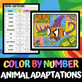 Animal Adaptations - Color by Number