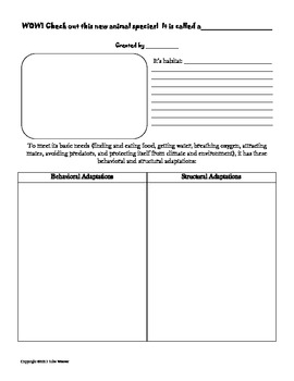 Animal Adaptations- Create Your Own Species